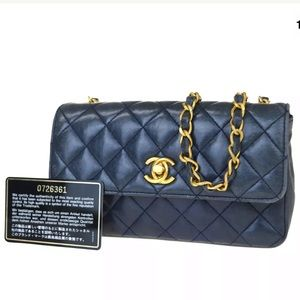 Auth CHANEL Lambskin Quilted Mini Flap Quilted Bag